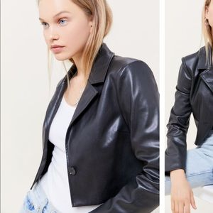 UO cropped leather blazer
